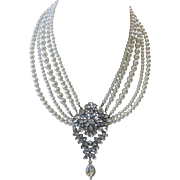 Rhinestones & Faux Pearls Large Cluster Drop Bib Necklace