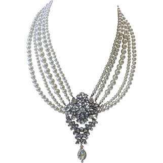 Rhinestones & Faux Pearls Large Cluster Drop Bib Necklace