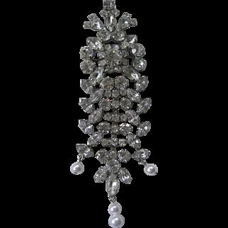 Brilliant Vintage Dangling Rhinestones & Pearls Pin Brooch