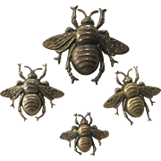 JOSEFF Of Hollywood Rare Swarm Of Bee's 4 Brooch Pins