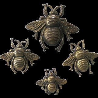 JOSEFF Of Hollywood Rare Swarm Of Bee's 4 Brooch Pins