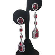 Red Ruby & Brilliant CZs  Dangling Silver Earrings