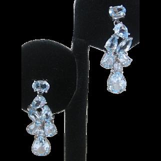 Pear Cut Top Sky Blue Topaz 925 Sterling Silver Earrings