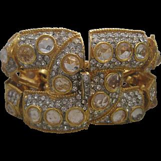 KJL Spectacular Early Kenneth Lane Heavy Clear Glass & Rhinestones Bracelet