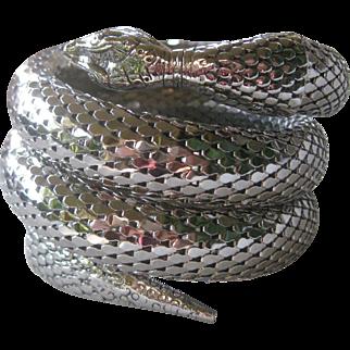 WHITING DAVIS Silver Tone Mesh Triple Wrap Snake Cuff Bracelet