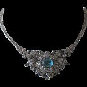 TRIFARI Empress Eugenie Aqua Clear Stones & Enamel Stunning Necklace