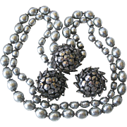 MIRIAM HASKELL Light Platinum Baroque Style Glass Pearls Necklace & Earrings Set