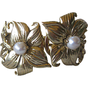 Miss Ellie Floral Gold Tone & Glass Pearls Cuff Bracelet