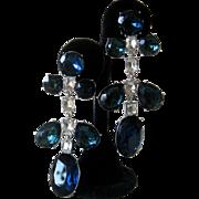 KJL Large Old Sapphire Glass & Rhinestones Chandelier Earrings
