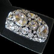 Large Brilliant Glass Stones Wide Cuff Bracelet