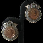 PANETTA  Coins & Rhinestones Beautiful Vintage Earrings