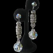 Vintage Rhinestones Filigree & Crystals Shoulder Duster Chandelier Earrings