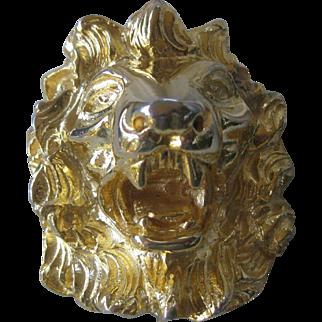 JUDITH LEIBER Heavy Gold Tone Lions Head Pin / Pendant