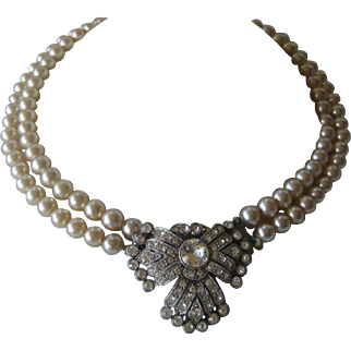 Beautiful Vintage French Paste & Glass Pearls Necklace