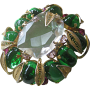 SCHREINER Large Beautiful Glass Stones & filigree Pin Brooch