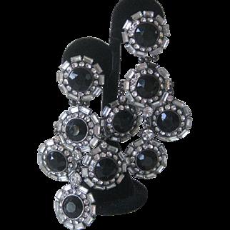 Spectacular Vintage Jet Glass & Rhinestones Huge Chandelier Earrings