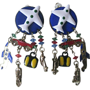 lunch At The Ritz Enamel & Crystals Vacation Earrings