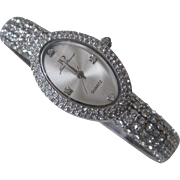 JOAN DOUSSET Rhinestone Covered Watch Cuff Bracelet