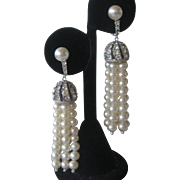 Vintage French Paste & Pearls Chandelier Earrings