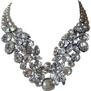 PAULINE TRIGERE Rare Pearls & Glass Stones Huge Runway Bib Necklace