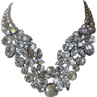 PAULINE TRIGERE Rare Pearls & Glass Stones Huge Runway Bib Necklace