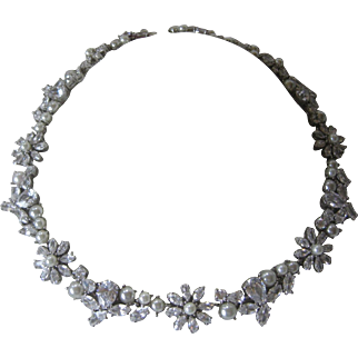Vintage High Quality Brilliant Open Back Glass Stones & Pearls Necklace