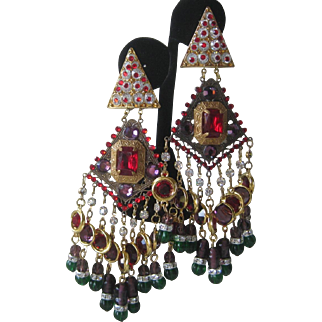Lawrence VRBA Couture Huge Theatrical Gypsy Earrings