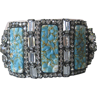 Amazing Designer Couture 1 Of A Kind Rare Turquoise & Glass Cuff Bracelet