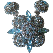 WARNER Gorgeous Vintage Aqua & Smoke Rhinestones Large Brooch Pin & Earrings Set