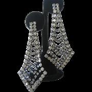Vintage 1930s Glamour Dangling Clear Rhinestones Earrings