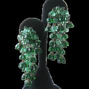 Molded Green Glass Flowers Waterfall Earrings Vintage West Germany
