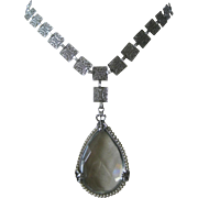 Art Deco Large Glass Teardrop Small Pearls & Filigree Vintage Necklace