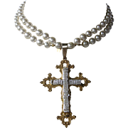 MIRIAM HASKELL Fabulous Long Strand Baroque Pearls With Large Vintage Maltese Cross