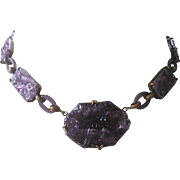 Rare Carved Purples Glass & Glass Rings 1930s CZECH Necklace