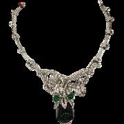 Christian Dior Vintage Rare Green Glass & Rhinestones Gorgeous Necklace