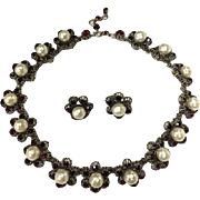 ROGER JEAN PIERRE French Garnet Glass Stones Necklace & Earrings For Dior