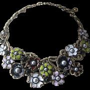 OSCAR DE LA RENTA Signed Large Enamel & Pearls Floral Bib Necklace
