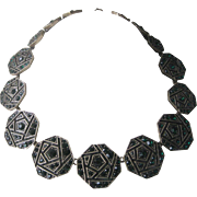 OSCAR DE LA RENTA Signed Emerald Green Rhinestones & Brass Necklace