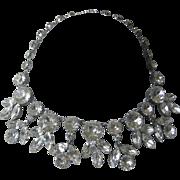 AUSTRIA Hanging Brilliant Large Clear Glass Stones Bib Necklace