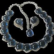 Vintage Blue Glass & Rhinestones Necklace & Earrings Set Unsigned Boucher