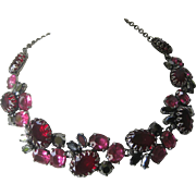 SCHIAPARELLI Rare Signed Red & Pink Large Open Back Glass Stones Cluster Necklace
