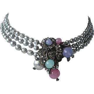 MIRIAM HASKELL 3 Strand Baroque Pearls With Large Rhinestone & Glass Centerpiece Necklace