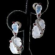 Vintage TRIFARI Philippe Demi Lune Moonstone Dangling Rare Long Earrings