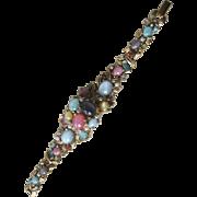 Vintage Hidden Wind Up Watch Glass Stones Cluster Bracelet