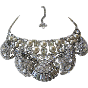 Gorgeous Vintage 3 Dimensional French Paste & Pearls Huge Bib Necklace