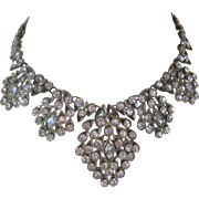 OSCAR DE LA RENTA Signed Large Zillions Of Large Rhinestones Bib Necklace