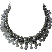 OSCAR DE LA RENTA Silver & Crystal Dangling Beads Bib Necklace