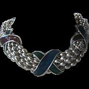Yves Saint Laurent Platinum Pearl Beads & Enamel Designs Large Heavy Vintage Necklace YSL
