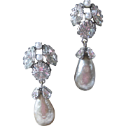 SCHREINER Vintage Glass Stones & Pearl Drops Stunning Earrings