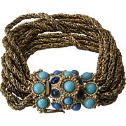 CHR. DIOR 1967 GERMANY Turquoise & Blue Stones Bracelet